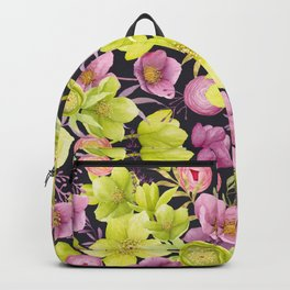 Pink and Yellow Green Hellebore Carpet Backpack
