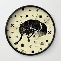 wolf Wall Clocks featuring Wolf by Anya Volk