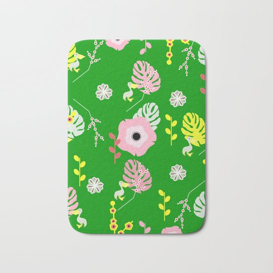Flowers, leaves and ... pelicans Bath Mat