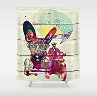 french Shower Curtains featuring FRENCH by DON'T NEED NO SAMURAI