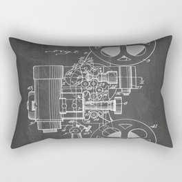 Film Projector Patent - Cinema Art - Black Chalkboard Rectangular Pillow
