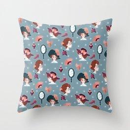Fancy Edwardian Ladies Throw Pillow