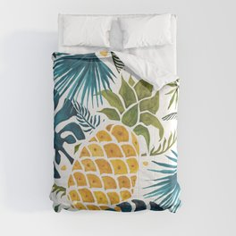 Golden pineapple on palm leaves foliage Comforters