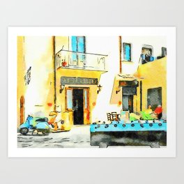 Foosball and scooter in front of the bar Art Print