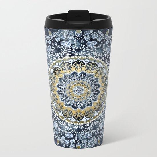 Blue Floral Mandala Metal Travel Mug
