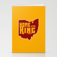 lebron Stationery Cards featuring Home of the King (Yellow) by Denise Zavagno