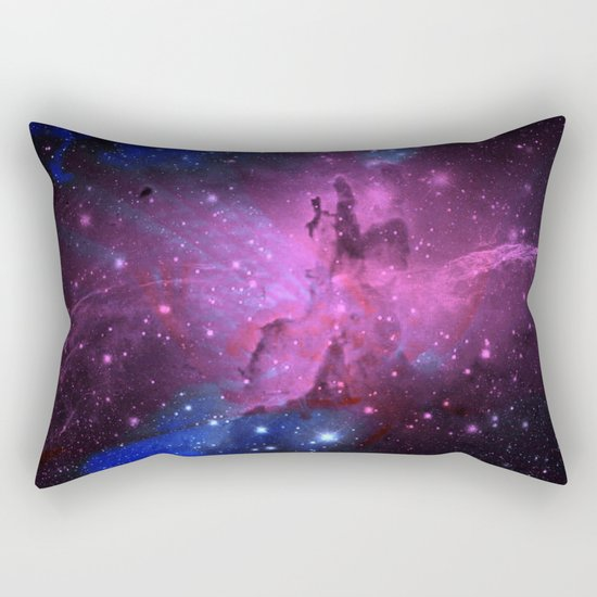 Pink N Blue Floral Space Explosion Rectangular Pillow