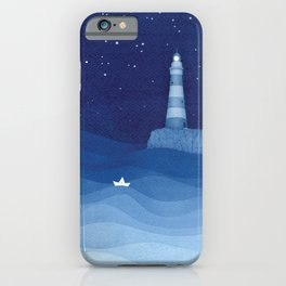 Lighthouse & the paper boat, blue ocean iPhone Case