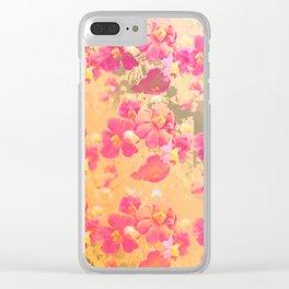 flowers, flowers, rose, silver, orange, gold, colored, vintage, elegant, textile, Clear iPhone Case