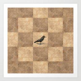 Patchwork Crow Art Print