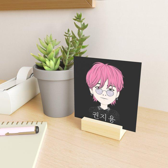 G-Dragon Cartoon Black Mini Art Print