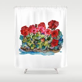 Red Geraniums painting Shower Curtain