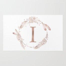 Letter I Rose Gold Pink Initial Monogram Rug
