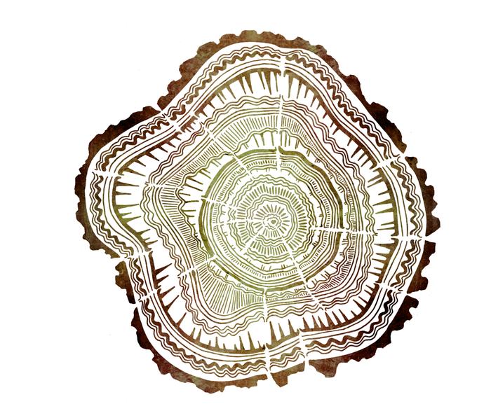 Tree Rings – Watercolor Ombre Metal Travel Mug