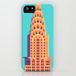 New York Art Deco Building Architecture - Cyan iPhone Case