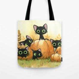 Black cats and pumpkins Tote Bag