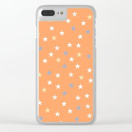 Peach Pastel Background With Stars Clear iPhone Case