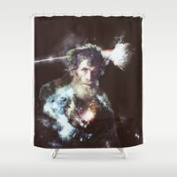 dark side of the moon Shower Curtains featuring dark side of the moon - old man by Ahmet Hacıoğlu