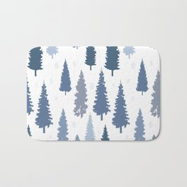 Pines and snowflakes pattern Bath Mat