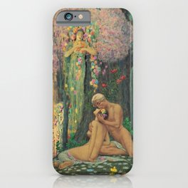 'A Man and a Woman in the Forest with Angels' Floral Landscape by Charles Holloway iPhone Case
