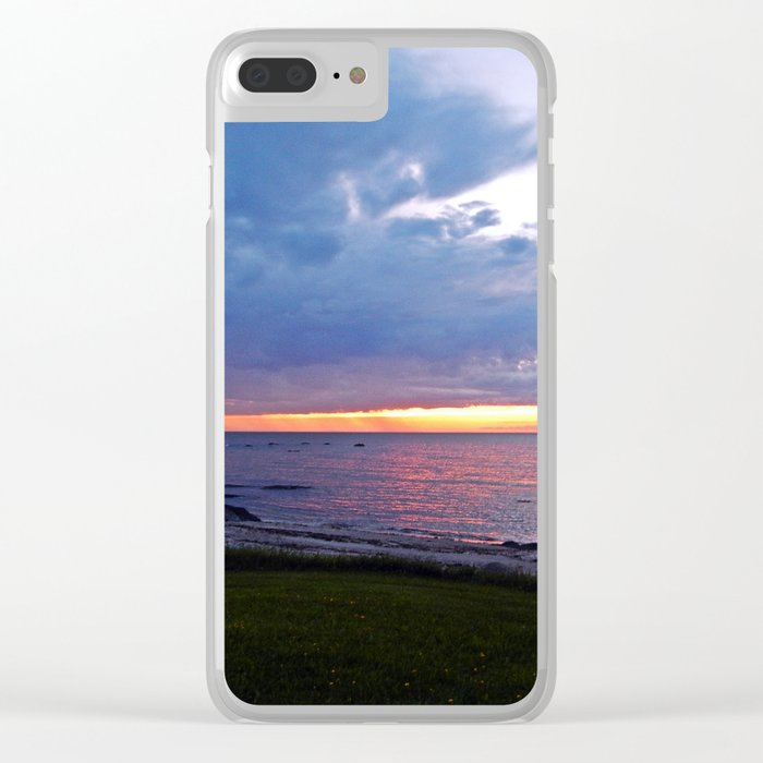 Sunset at Sea and the Rain Storm Clear iPhone Case