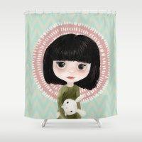 mini Shower Curtains featuring Mini me by Marta Li