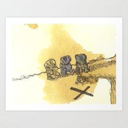 Digging Deep Gummi Bears Art Print