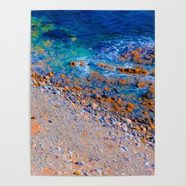 blue water at the ocean with rock and stone in summer Poster