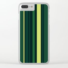Yellow and Shades of Green Stripes Clear iPhone Case