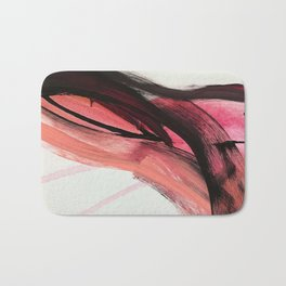 Entangled: a vibrant, colorful, abstract mixed-media piece in pinks and reds Bath Mat