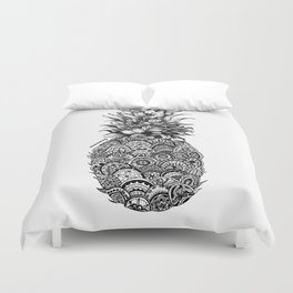 Pineapple Zentangle Black and White Pen Drawing Duvet Cover