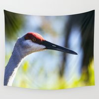 crane Wall Tapestries featuring Sandhill Crane by Roger Wedegis
