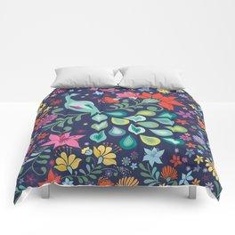 Peacock Sanctuary (navy) Comforters