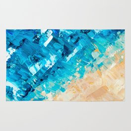 Deep | Abstract blue turquoise ocean beach acrylic brushstrokes painting Rug