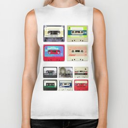 funny geeky colorful cassette tapes vector art Biker Tank