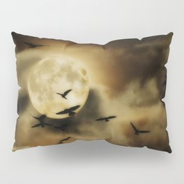 Crows Fly Towrads The Moody Moon's Glow Pillow Sham