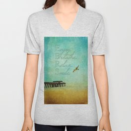 Enjoy Breathe Relax Smile ~ Tybee Island Pier ~ Ginkelmier Inspired Unisex V-Neck