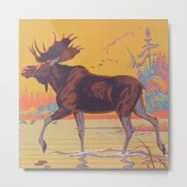 Moose Walking Through Creek Vintage Art Metal Print