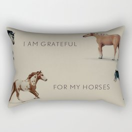 I am grateful for my horses because they give me much joy! By Angelica Ramos Rectangular Pillow