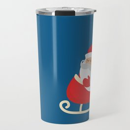 Merry Christmas Santa Claus Flying in his Sleigh Travel Mug