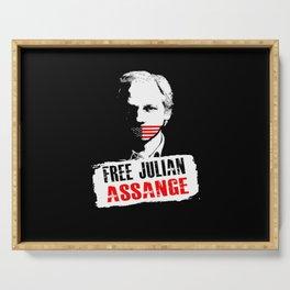 Free Julian Assange Serving Tray