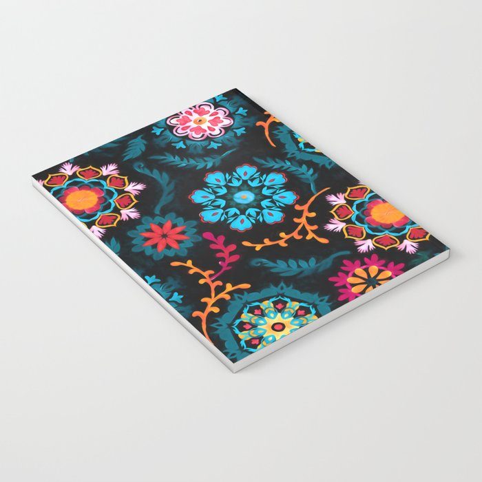 Suzani Inspired Pattern on Black Notebook
