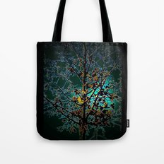 Autumn Tree on Turquoise Background Tote Bag