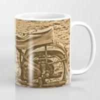 motorcycle Mugs featuring Jawa motorcycle by AhaC