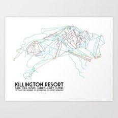 Killington, VT - Minimalist Trail Art Art Print