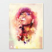 rihanna Canvas Prints featuring Rihanna by turksworks