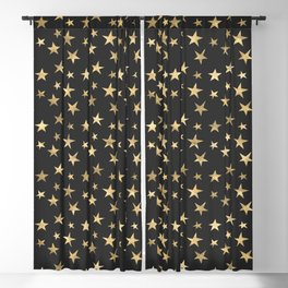 Black & Gold Star Pattern Blackout Curtain