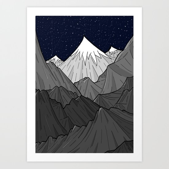 The Dark Grey Mountains Art Print