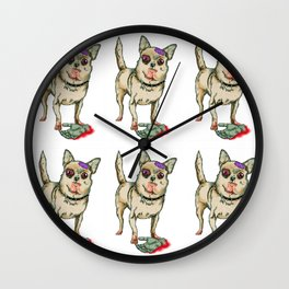 Zombie Chihuahua Wall Clock