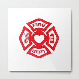 Firefighter Heart Pillow  Metal Print